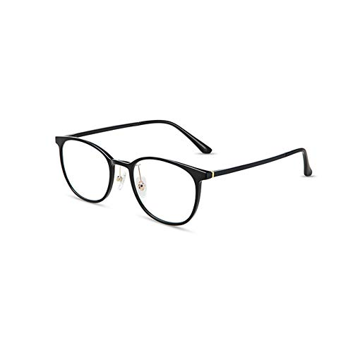 HQMGLASSES Gafas de Lectura de computadora Anti-Azul Redonda Retro, Gafas de teléfono móvil de la Lente de Resina HD de la Mujer adecuados para la Oficina/Costura dioptría +1.0 a +3.0,Negro,+1.0