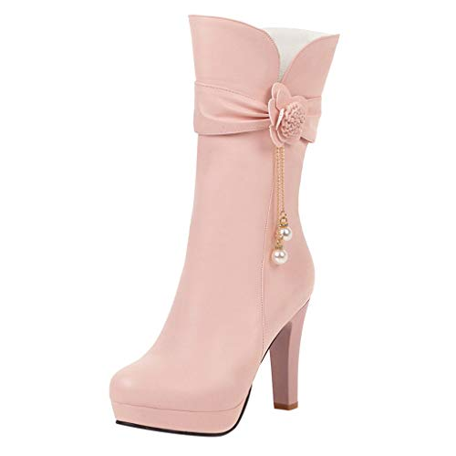 Yowablo Stiefel Frauen Winter High Heel Warme Stiefel Flower Pearl Low Thick Heel Schuhe (38,Rosa)