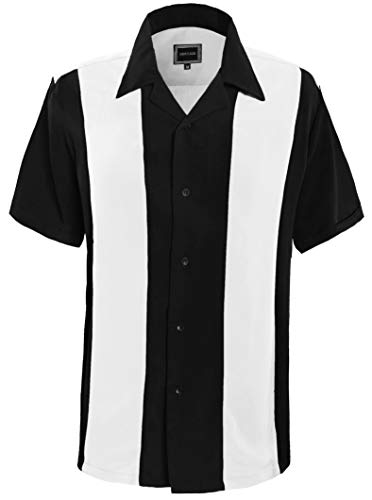 Guytalk Mens Button Down Bowling Shirt, Cuban Style Retro Two Ton Camp Shirt White Black-4XL