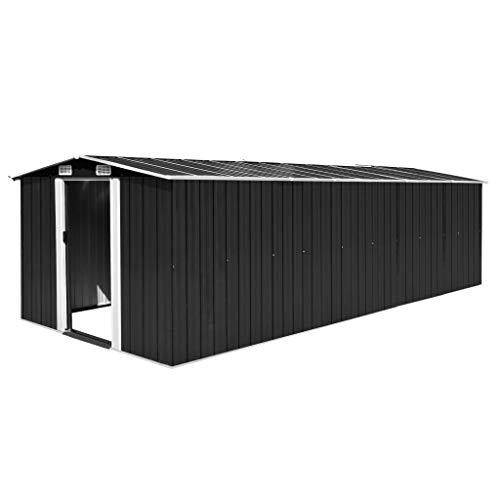 UnfadeMemory Geräteschuppen Metall Gartenhaus Schuppen aus Verzinkter Stahl Metallgerätehaus mit 4 Lüftungsschlitzen Lagerschuppen zur Aufbewahrung (257x597x178 cm, Anthrazit)