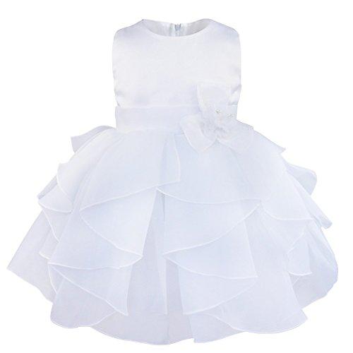 FEESHOW Baby Girls Ruffle Flower Baptism Dress Christening Gown Wedding Party Birthday Tutu Dress White 12-18 Months