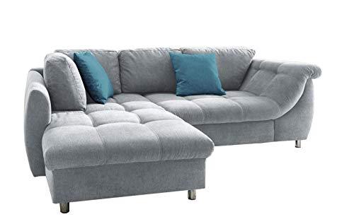 lifestyle4living Ecksofa mit Bettkasten | Schlaffunktion | Eckcouch Polsterecke L Couch Sofa L Form | Wohnlandschaft inkl. Rückenkissen und Zierkissen | Stoff Grau