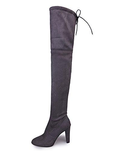 Minetom Damen Winterschuhe High Heels Mit Warm Gefüttert Plüsch Anti Rutsch Sohle Hohe Stiefel Boots Schnürschuhe Grau EU 38