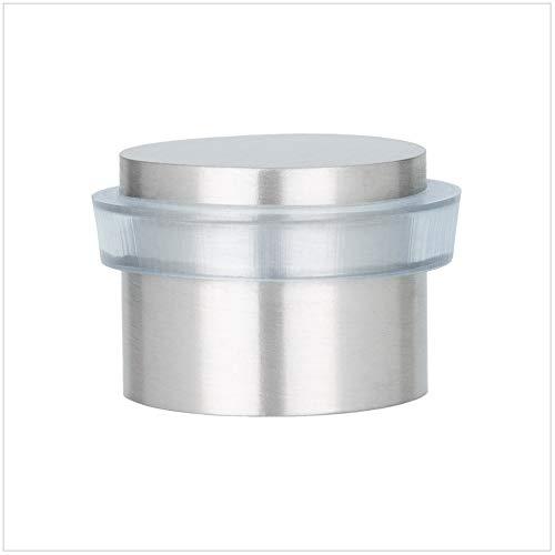 EVI Herrajes 040163TAM Tope De Puerta Adhesivo, Acabado, INOX Mate-Goma Transparente, 28x20mm