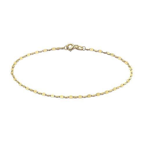 TJC 9ct Yellow Gold Valentino Chain Bracelet for Women Size 7.25 Inches