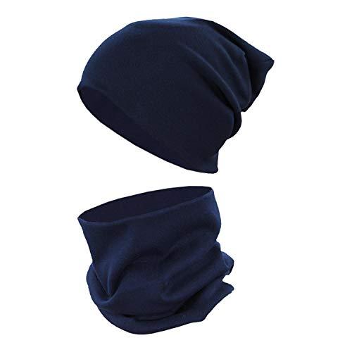 TupTam Berretto e Sciarpa Scaldacollo Coordinati per Bambini, Blu Scuro, 38-44 cm