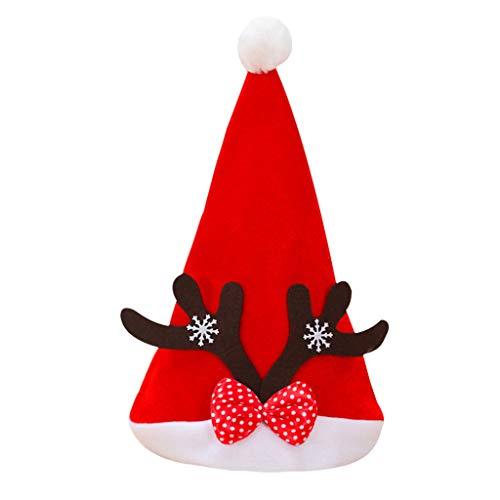 Navidad ZODOF Gorro Adulto Niño Gorro navideño Cuerno Nudo de Lazo Juego de rol navideño Navidad de Vacaciones...