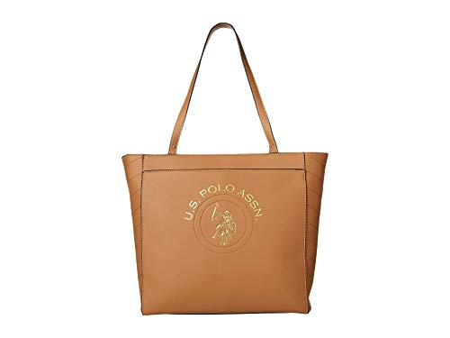 U.S. POLO ASSN. Embossed Tote Cognac One Size