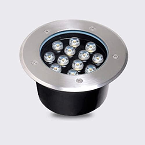HETX7 Luces LED empotradas en el Suelo Vidrio Templado de 12 vatios Iluminación de Paisaje al Aire Libre IP67 Lámpara enterrada de Acero Inoxidable a Prueba de Agua para el Camino de e