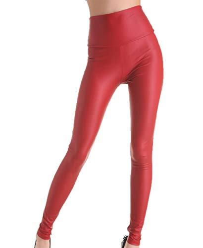 MrHappyDeal Kunstleder Leggings Damen Leggins | High Waist Lederimitat Leggins Damen Hose | Fake Leder Look LederLeggings schwarz matt, rot (leg_led_vielf)(S 34/36,Kirschrot)