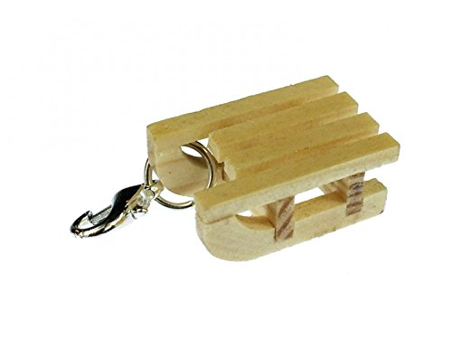 Miniblings Schlitten Charm Winter Mini Schlitten Holz - Handmade Modeschmuck I Kettenanhänger versilbert - Bettelanhänger Bettelarmband - Anhänger für Armband