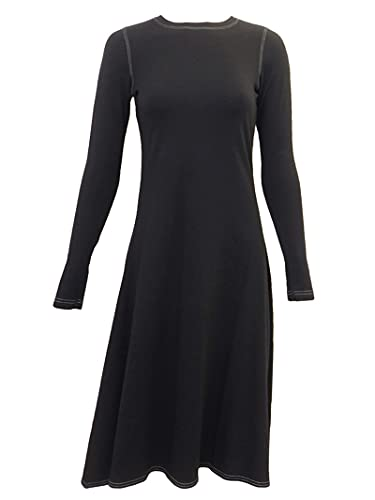 Hard Tail Forever Long Sleeve Handkerchief Dress with Round Neck Style MF-42 Black L (Apparel)