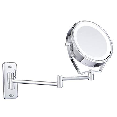 Makeup mirror 7X Kosmetikspiegel mit LED-Licht 360 ° drehbarer, beidseitig klappbarer Wandspiegel für das Hotelbad