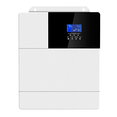 Hybrid Inverter, Pure Sine Wave Inverter with 60amp Mppt Charge Controller, DC to 110~120VAC 3000W Pure Sine Wave Inverter with AC to DC Charge Battery Function, Work with 48V Lead-Acid and Lithium