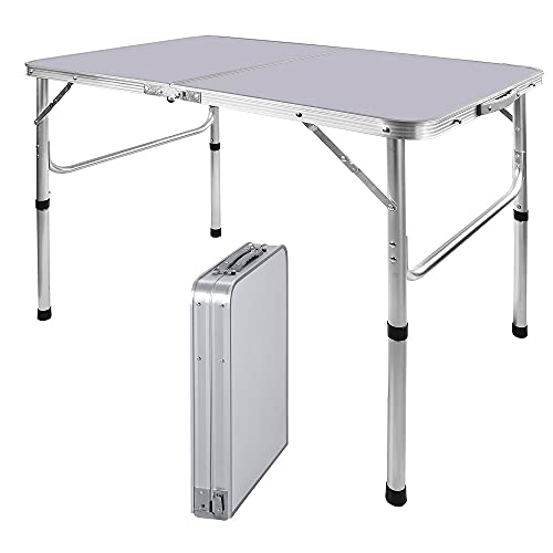 90CM Portable Aluminum Folding Table Party Garden BBQ Camping Table, 2 Gear Adjustable Height Lightweight Aluminum Foldable Table for Outdoor Picnic Cooking, White, Unfolding Size: 90x67/37CM