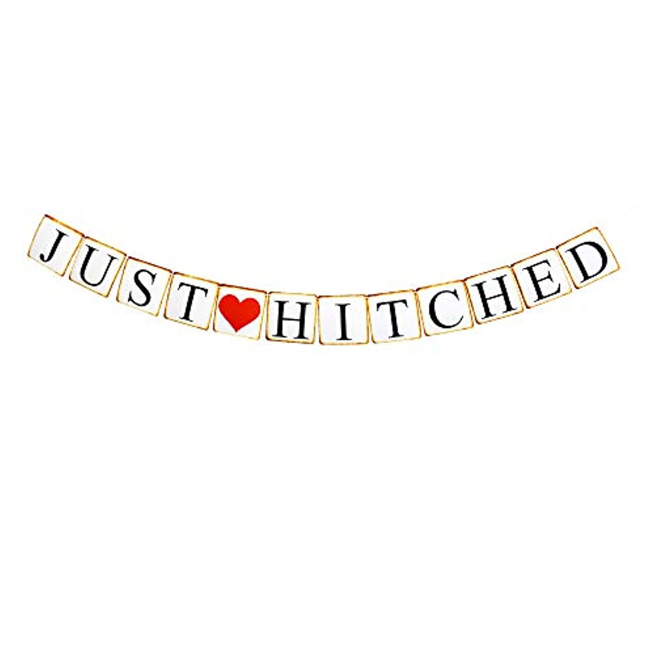 Just Hitched Banner, Fun Paper Sign Decors for Engagement/Wedding/Bacherolette/Bridal Shower Party