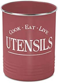 Kitchen Utensil Holder Crock Red With Premium Padded Base Vintage Farmhouse Home Kitchen Decor product image