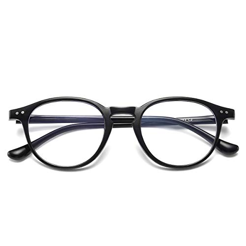 Blaulichtfilter Brille Computerbrille ohne sehstärke Anti-Blaulicht Klassische Rund Frame Gaming Brille für Damen Herren Schwarz