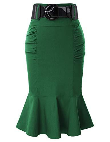 Belle Poque Falda Mujer Vintage Ruffles Estilo Retro Plisada Fiesta