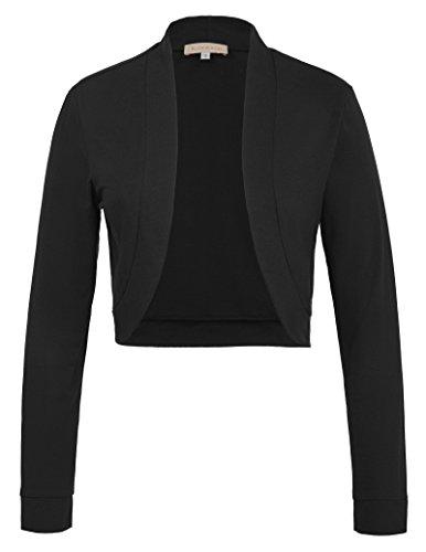 Damen stilvolle 50er Jahre Langarm Solid Color Abendkleid Mantel Achselzucken Schwarz 823 S