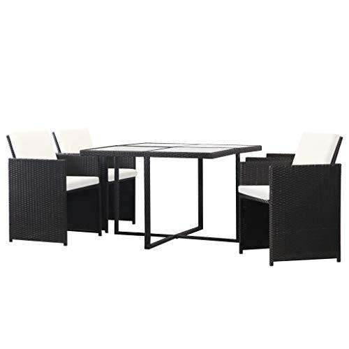 WENXIA - Juego de muebles de jardín (13 piezas, ratán sintético, color negro, para patio, sala de estar, color negro
