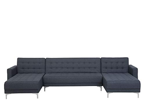 Modular U-Shaped Sofa Bed 3 Seater 2 Chaises Grey Fabric Aberdeen