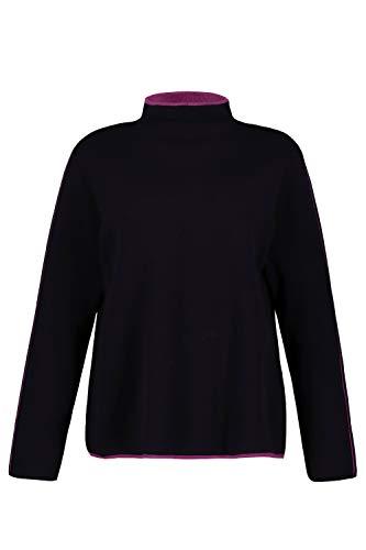 Ulla Popken Mujeres grandes hasta la 64, jersey de punto fino, rayas de color, cuello alto, manga larga, 724287 marine 52 - 54