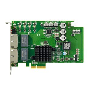 ADVANTECH PCIE-1674E-AE 4-Port PCI Express GbE PoE Vision Card, 4-Port PCI Express GigE Vision Frame Grabber, a PCIe x 4 Bus Network Interface Card (NIC) with 4 Ethernet Ports.