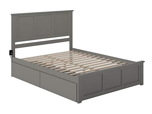 Atlantic Furniture Platform Bed, Queen, Grey