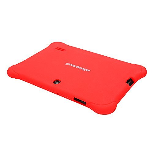 """Alldaymall 7"""" Android Tablets for Kids With Wi-Fi Quad Core and Dual Camera, 8GB (Third Generation) , HD Kids Edition w/ iWawa Pre-Installed (A88S with Red Kid-Proof Silicone Case)"""