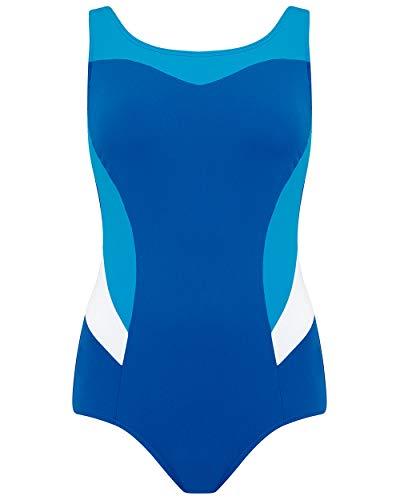 Nicola Jane dames blauw zwemmen kostuum chloorbestendig met zakken hoge hals badpak ~ maat 14 tot 26 (S215)
