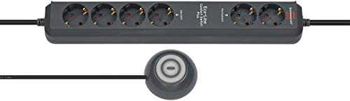 Brennenstuhl Eco-Line Comfort Switch Plus, Steckdosenleiste 6-fach (2 permanente, 4 schaltbare Steckdosen, beleuchteter Fußschalter) anthrazit