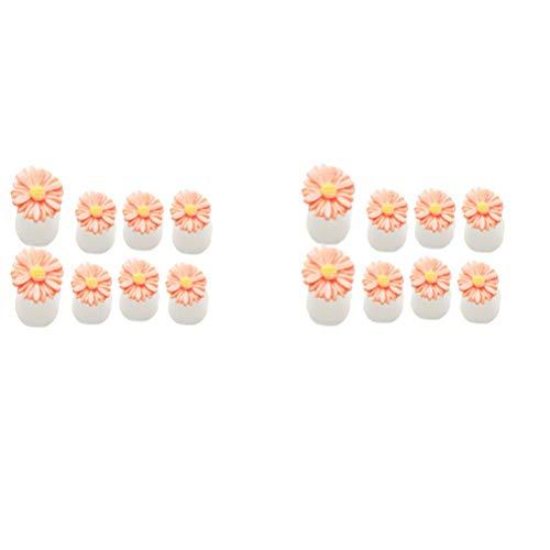 Lurrose 16pcs Daisy Feur Séparateurs Orteils Protecteurs Orteils en Silicone Correcteur Oignons Chevauchement des Orteils pour Nail Art Pédicure et Manucure Orange