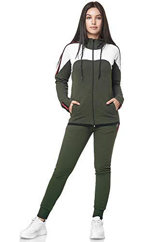Damen Jogginganzug Trainingsanzug Frauen Sportanzug Fitness Outfit Streetwear Training Tracksuit Jogginghose Hoodie-Sporthose Jogging-Hose Jogger Sportkleidung Modell 1148C-JK (Grün, L)