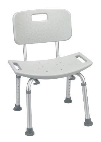 Drive Medical RTL12202KDR Bathroom Safety Shower Tub Bench Chair with Back, Grey