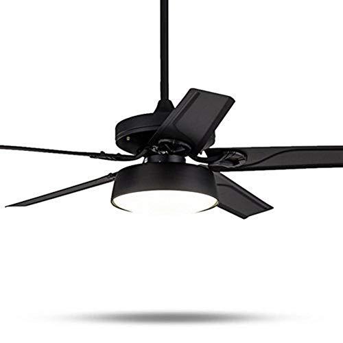 ZANYUYU Luces pendientes, Ventilador de techo Ventilador Moderno Silenciar la luz natural del viento CE lámpara LED de luz de madera o hierro Negro, Blanco, Metal Sling (Color : Black107cm)