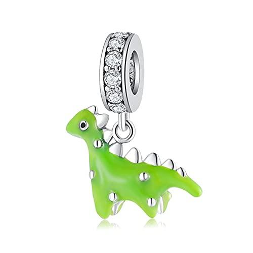 DIY Pequeño Dinosaurio Verde, Cuentas Colgantes De Plata De Ley 925, Ajuste Original, Collar Pandora, Pulsera, Joyería DIY, Regalo
