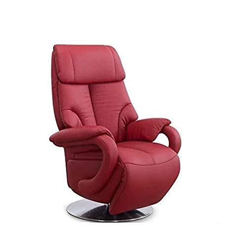 CAVADORE Ledersessel Istanbul / Fernsehsessel mit elektrisch verstellbarer Relaxfunktion / 2 E-Motoren / 80 x 115 x 79 / Echtleder: Rot