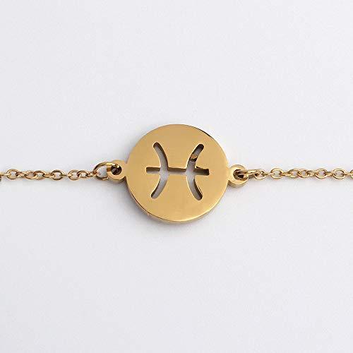 lonfenner Sternbild Armband,Edelstahl Münze Charme Verstellbare Manschette Armbänder 12 Sternbild Sternzeichen Armband Trendigen Schmuck Fische