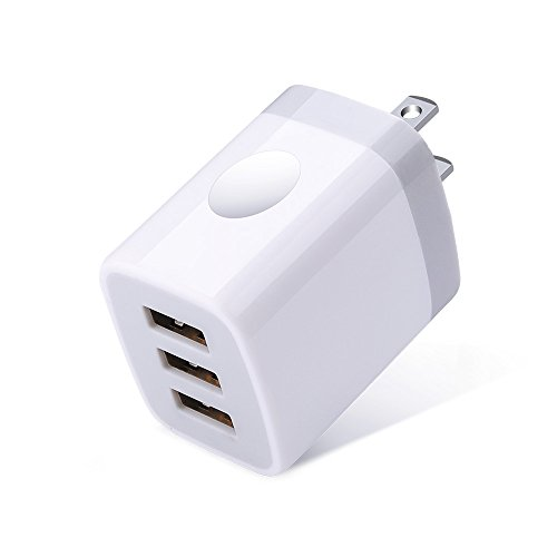 USB Charger Plug, Ououdee 3.1A 3-Port Travel USB Phone Charger Box Power Adapter Charging Block Cube for iPhone X/8/7/6S/6S Plus, iPad, Samsung Galaxy S10 S10e S9 S8 Plus, LG G8, HTC, Moto G6 G7 Plus