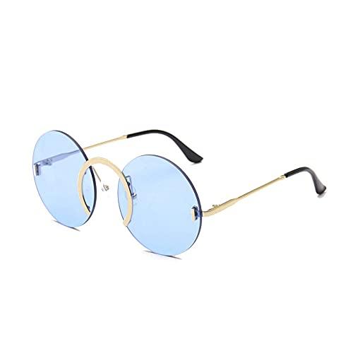 QWKLNRA Gafas De Sol para Hombre Gafas De Sol Deportivas Polarizadas con Lentes Azules, Anillo De Nariz Único A La Moda, Redondo, Vintage, Sin Montura, Lentes Transparentes para El Océano, Gafas D