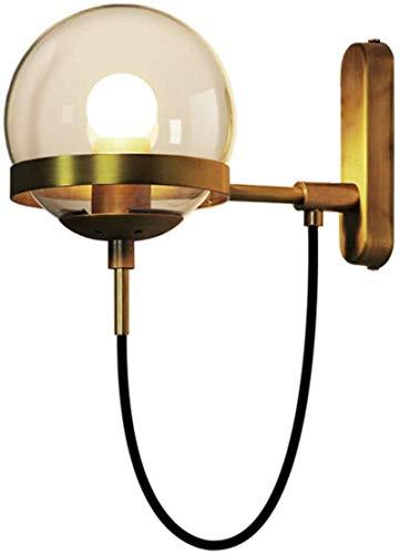 Lámpara de pared para sala de estar lámpara de pared Country Retro Hotel Corredor dormitorio cabecera bola de cristal lámpara de pared 22 * 28 cm lámpara de noche