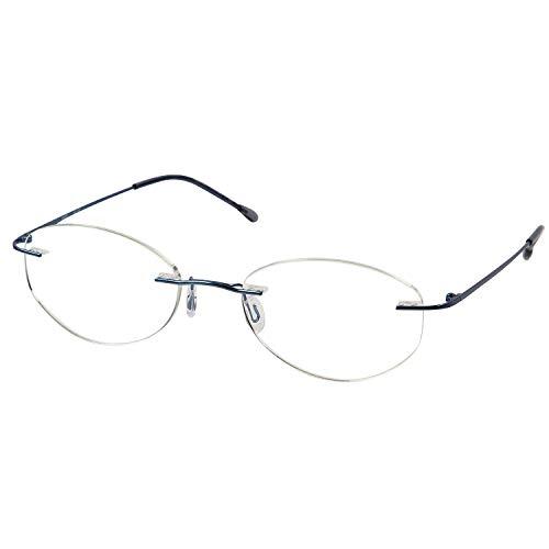 MIDI (ミディ) 老眼鏡 ふちなし ブルーライトカット UVカット メタルフレーム オーバル レディース カラー:ライトブルー (M119,C4,+1.00)