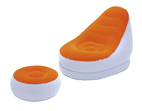 Inflatable Sofa Flocked PVC Lounge Air Chair with Foot Rest Indoor Outdoor Living Room Ottoma Stool Garden Lounger (Color : Orange)