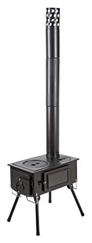 キャプテンスタッグ(CAPTAIN STAG) ストーブ BBQ KAMADO かまど 煙突 ガラス窓付 角型ストーブ 収納バッグ付き UG-75 ブラック 幅600×奥行510×高さ1070