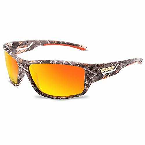 Gafas de sol polarizadas deportivas para hombres y mujeres, ideales para conducir, pescar, ciclismo, correr, protección UV (camuflaje naranja espejo)