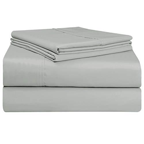 Juego de sábana Gris de 400 conteo de hilos, 4 piezas de 100% algodón de fibra larga, lujoso suave saten conjunto de hojas, 1 sábana adjustable, 1 sábana plana, 2 fundas de almohada (Gris - Double)