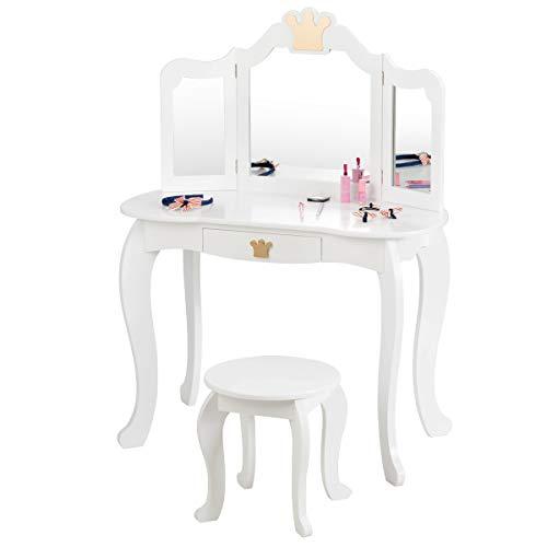 COSTWAY Kinder Schminktisch mit Hocker und Abnehmbarer Spiegel, Mädchen Frisiertisch Holz, Kindertisch mit Schublade, Spiegeltisch 80x42x105cm (Weiß)