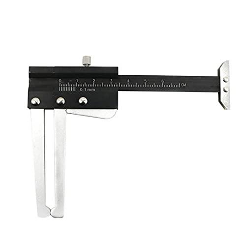 Freno de disco con pinza profundidad del neumático Gauge Medidor de Espesor de herramientas Regla 2 en 1 0-60mm Aluminio Negro de alta precisión de la regla