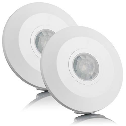 SEBSON® Bewegungsmelder Innen Aufputz - 2er Set - Decken Montage, programmierbar, Infrarot Sensor, Reichweite 6m/ 360°, Bewegungssensor LED geeignet, 3-Draht
